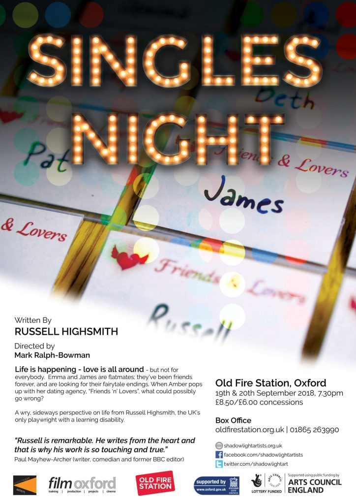 Singles Night a new play by Shadowlight Artist Russell Highsmith (Film Oxford)